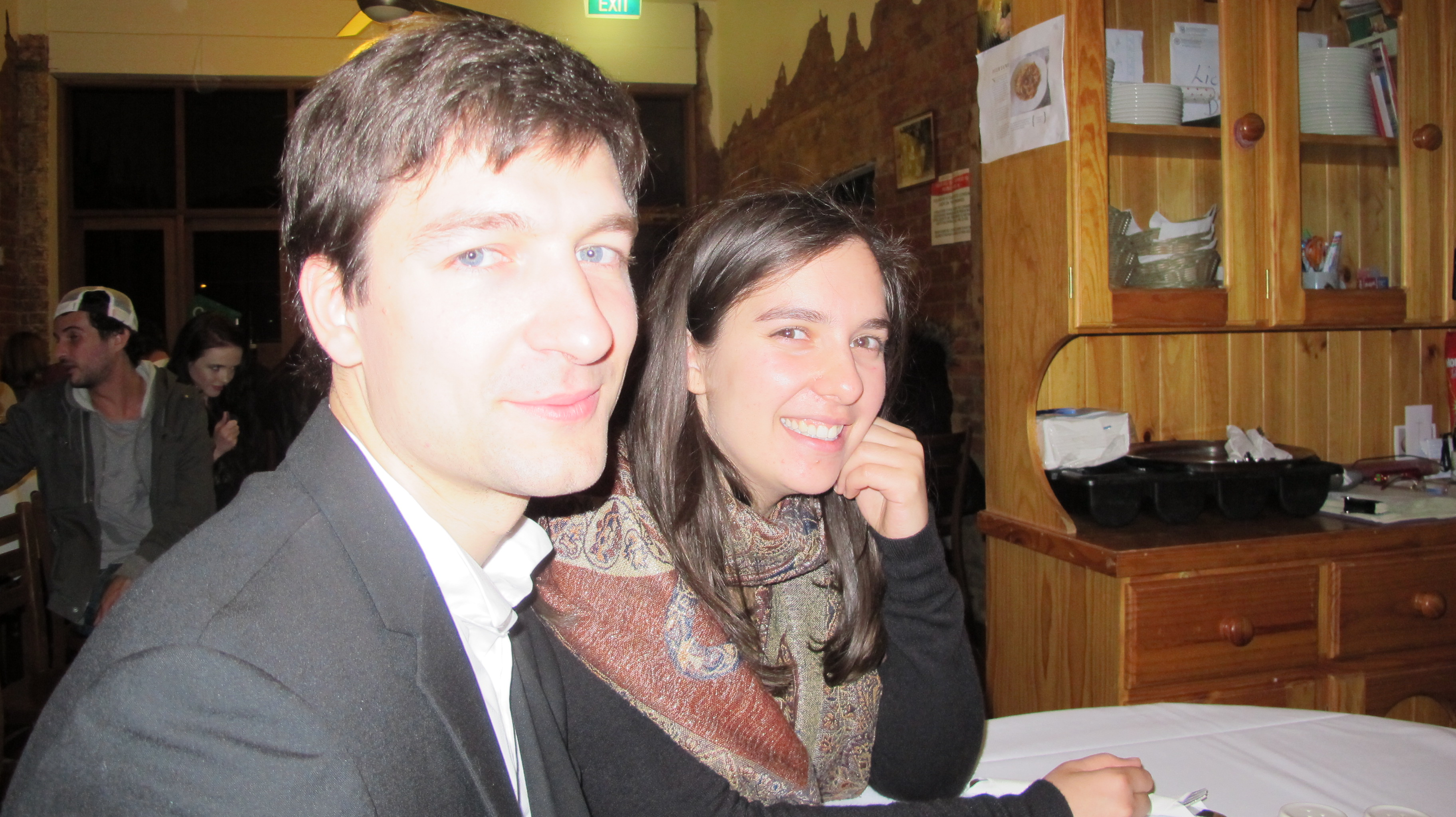 Konstantin and Mekhla relaxing after the concert at Feliciano's