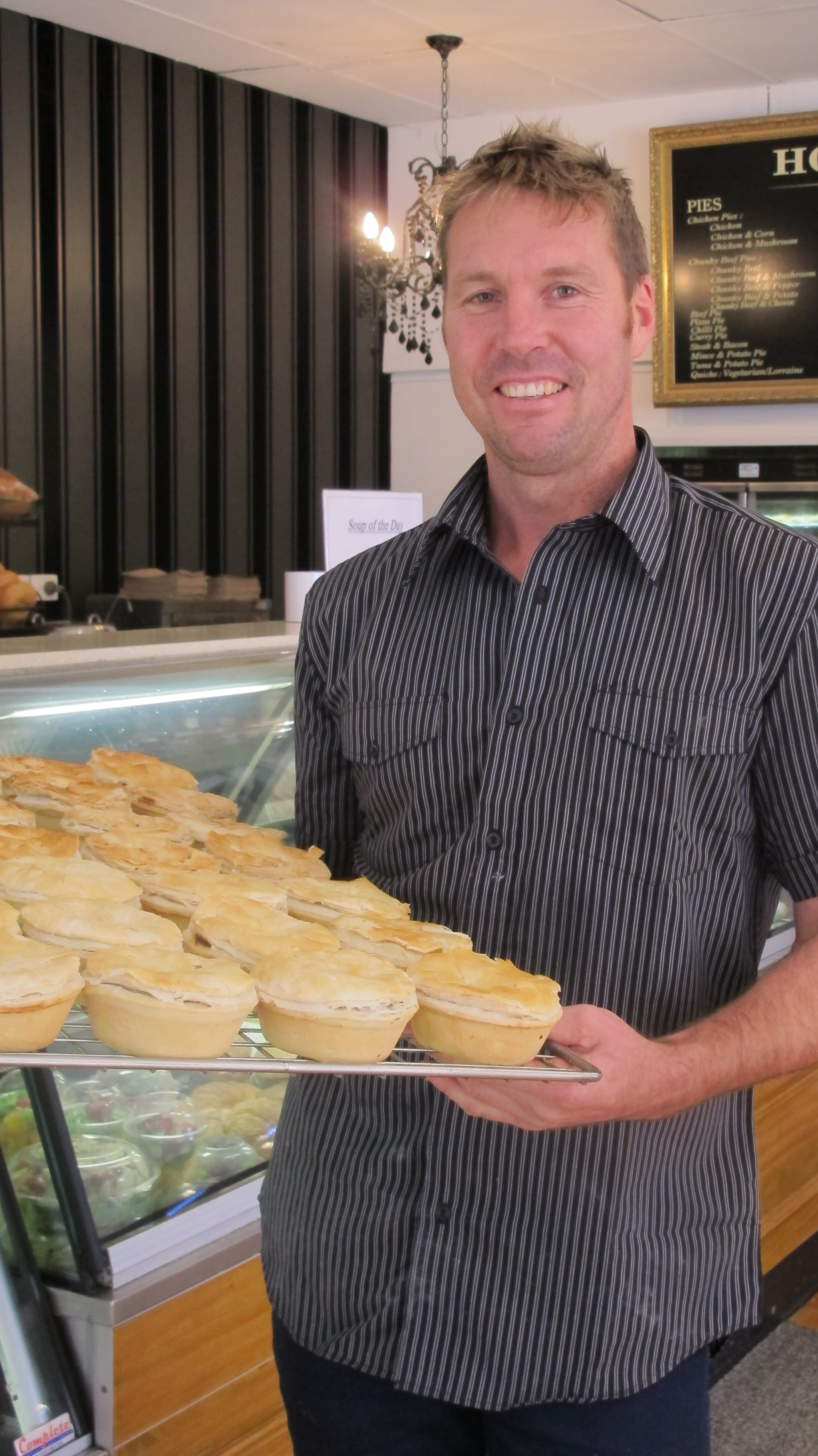 Damian Obst, owner of St Peters Bakehouse with a tray of delicious pies